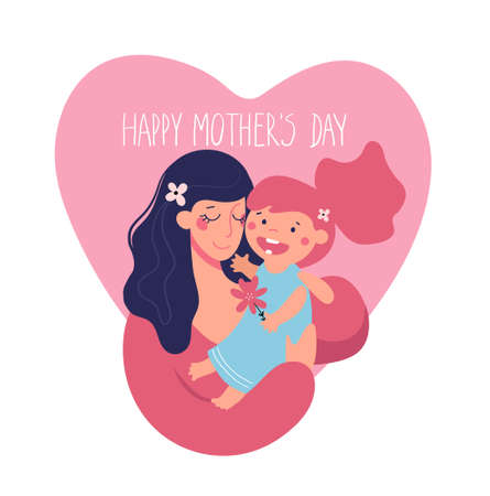 Mother s day greeting template. A woman holds a child on a background of the heart. Mom hugs her daughter. The concept of family and motherhood. Illusztráció