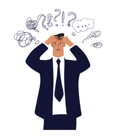 A businessman holds his head, an office worker with a headache, a man in stress from work and problems. Professional burnout. Flat vector illustration isolated on white background