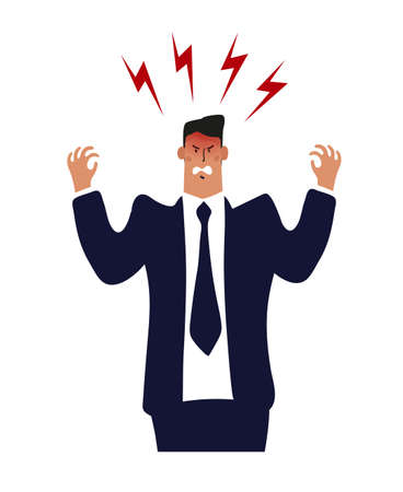 Angry businessman, a man in a suit and tie is upset or furious. Concept of burnout office worker, problems at work. Cartoon male character. Flat vector illustration Ilustração