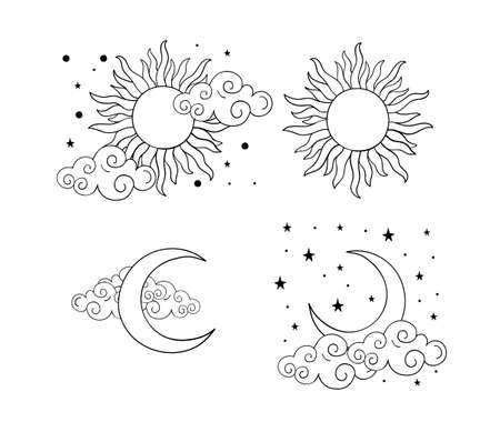 Mystical boho tattoos with sun, crescent, stars and clouds. Linear design, hand drawing. Set of elements for astrology, mysticism and fortune telling. Vector illustration on a white background