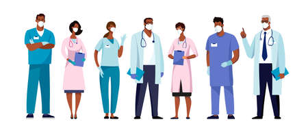 Set of male and female characters of doctors. Surgeons, doctors, nurses. Conceptual illustration, hospital medical team, poster. Vector template for design Illustration