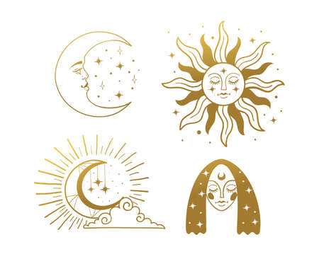 Set of beautiful golden mystical elements in boho style, sun and crescent with a face, the moon, a female face with stars. Elements for design, tattoo, sticker. Linear vector illustration isolated on white background Illustration