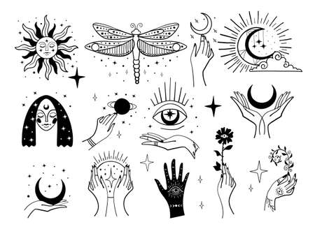Set of magic symbols, witch tattoos. Crescent moon, sun with face, hands with plants, magic ball and stars. Black linear sketch, boho design, modern vector illustration