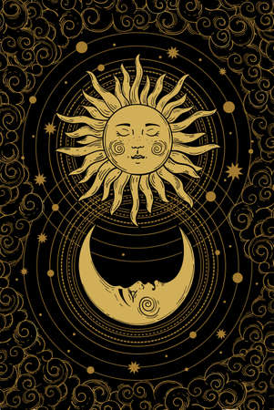 Divine golden crescent moon pattern with face, sun and clouds on a black background. Boho design elements for tarot, astrology, tattoo, cover. Vector illustration