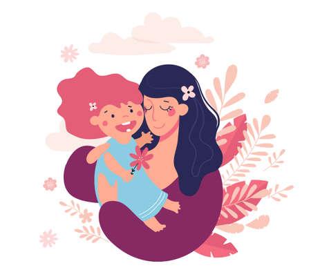 Mothers Day Greeting Card. Happy mom hugs her baby, cute poster. A woman holds a girl in her arms. Flat vector illustration Illustration