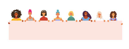 Girls and women of different nationalities are holding a poster with place for text. International Women s Day, feminism, women s friendship. Flat vector illustration