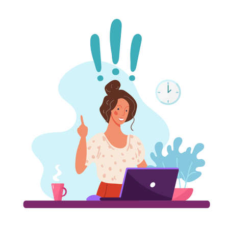 Happy woman sitting at a computer, exclamation marks, concept of a new idea. Illustrations of home office, remote work, distance learning, freelance. Vector flat cartoon isolated