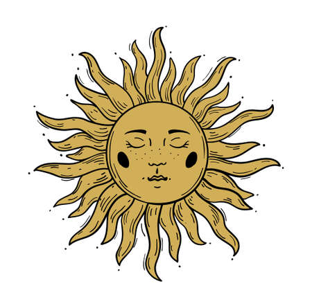 Modern pattern in vintage style, the sun with a face, engraving.