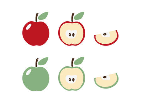 Apple icon set in modern flat design. Apple symbol in red and green with a leaf. Half and a slice of apple. Clip-art for  hobby, pattern. Stock vector isolated on white background.