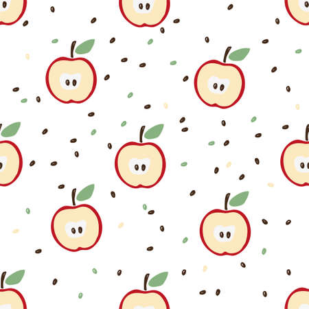 Seamless pattern of halves of a red apple with a leaf and seeds on a white background. Cute flat pattern for wallpaper, wrapping paper, hobby, harvest festival. Stock vector.