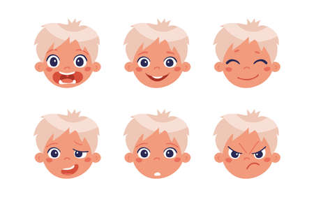 The head of a boy with different emotions, happy, unhappy, sad. Children s character for animation. Vector illustration isolated on a white background