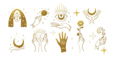 Set of golden magic stickers, boho design elements, tattoo, alchemical symbols, esotericism and witchcraft. Linear vector illustration isolated on white background