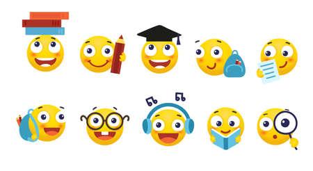 Wektor zestaw buźek do szkoły i edukacji. Okrągłe żółte emotikony z różnymi emocjami, powrót do szkoły. Student z książką, plecakiem, okularami. Płaska ilustracja kreskówka na białym tle