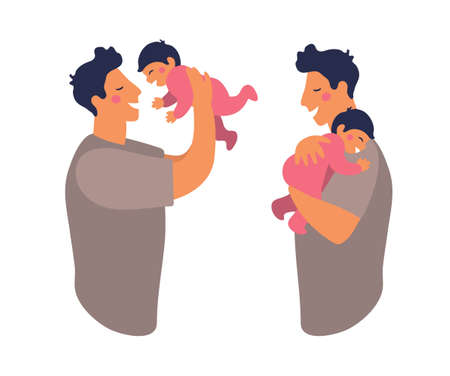 A father hugs and takes care of his child. Cute daddy is playing with his son. Happy dad holds daughter in his arms and smiles. Flat vector illustration isolated on white background