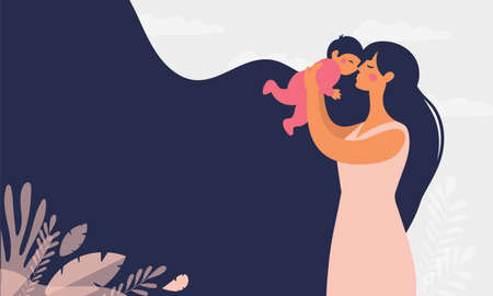 Beautiful young mother holds a baby. The concept of family, motherhood, pregnancy. Modern vector flat illustration. Clipart for design