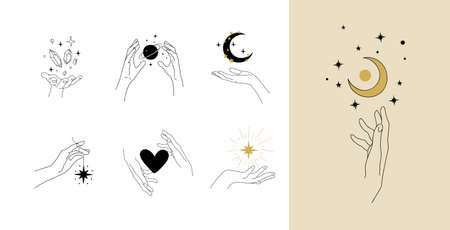 Set of modern simple magic drawings with crystals, stars, moon. Design elements for weddings, tattoos, trendy boho style. Vector linear illustration isolated on white background Illustration