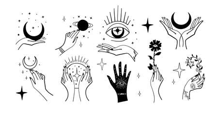 Set of magic symbols, witch tattoos. Crescent moon, hands with plants, magic ball and stars. Black linear sketch, boho design, modern vector illustration. Illustration