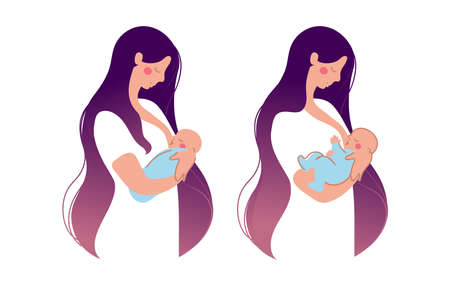 A cute young mother breastfeeds a newborn baby . The woman presses the baby to the chest, the baby eats breast milk. Flat illustration isolated on white background Illustration
