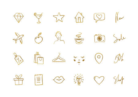 Set of hand drawn golden icons for social networks,