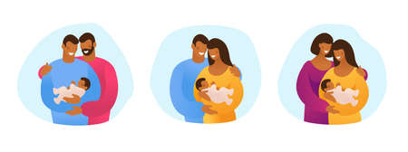 A set of LGBT couples and couples with children, gays, lesbians, a traditional pregnant couple.   Vector illustration in a flat cartoon style Illustration