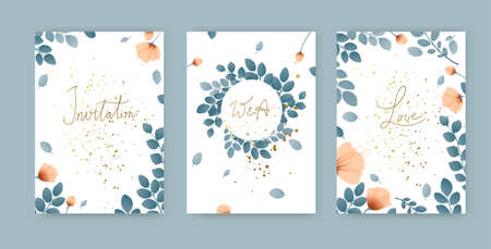 Set of simple cute cards with greens, poppies and golden splashes, branches with leaves, wreath, flowers, place for text. Vector illustration Illustration