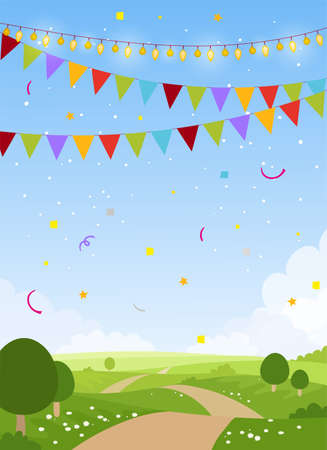 Spring or summer holiday card background with copy space. Fairytale country with sky, trees and flags. Blank for birthday, invitation, children s party. Flat cartoon vector illustration Illustration