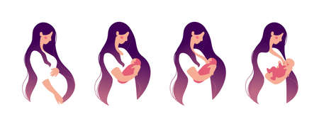 A young woman holds a baby in her arms and breastfeeds. Set for animation about breastfeeding. Flat cartoon design. Vector illustration isolated on a white background