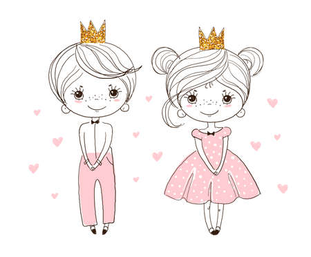 Cute poster, the little prince in a gold crown and the princess in a ball gown. Linear drawing for children, freehand sketch for kindergarten and educational activities. Vector illustration isolated on a white background Illustration