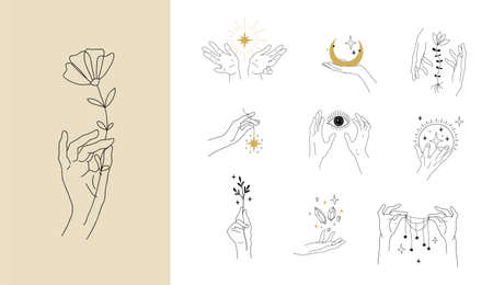 Set of modern simple magic drawings with crystals, stars, moon. Design elements for weddings, tattoos, trendy boho style. Vector linear illustration isolated on white background.