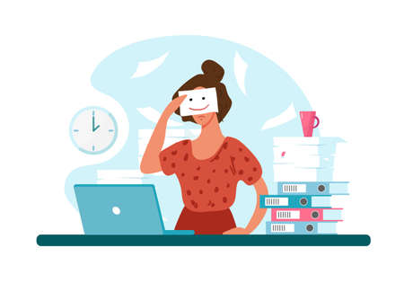 Unhappy woman at work, professional burnout. Sad girl holds a painted smile. The concept of depression, workload, career growth. Flat vector illustration Illustration
