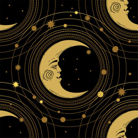 Seamless pattern with a golden moon and a crescent moon with a face on a black background. Magic, mystical background for tarot, boho design. Vector illustration, engraving Illustration