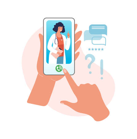 Online consultation with a doctor. Reception at the hospital for a video call, hands holding a smartphone with a woman doctor with a stethoscope on the screen. Flat vector illustration