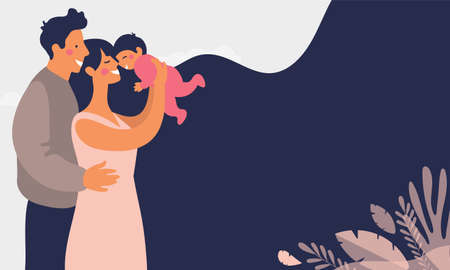 Young happy parents play with a baby. Daddy smiles at his son and hugs his wife. Mom holds daughter in her arms. Modern family. Flat vector illustration Illustration