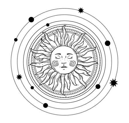 Vector illustration in vintage mystic style, boho design, tattoo, tarot. The device of the universe, the sun with a face, orbits with stars. Line drawing Isolated on a white background