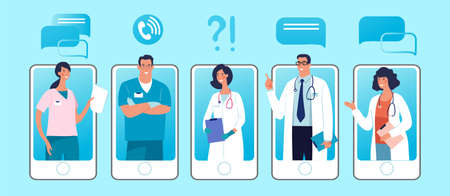 Set of phones with male and female characters of doctors on the screen. Concept of online clinic, call and video consultation with medical specialists. Flat vector illustration