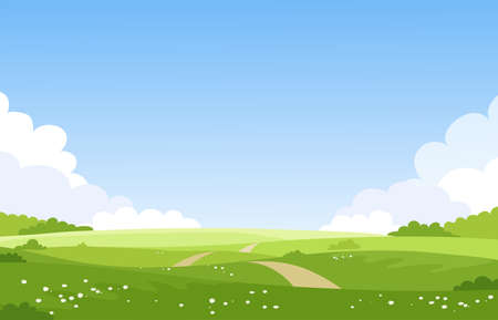 Beautiful spring summer landscape, banner with green fields and meadows. Summer natural background with place for text, green grass, road, couds, sky. Sunny park. Vector illustration.