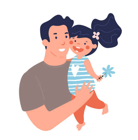 Portrait of a father with daughter. Poster for father s day. Daddy hugs and takes care of his child. Flat cartoon vector illustration isolated on white background Illustration