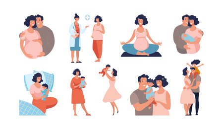Set about pregnancy and motherhood. Dad and mom with a baby, the child is growing, yoga for pregnant women, a happy family. Flat vector cartoon illustration isolated on white background. Stock Illustratie