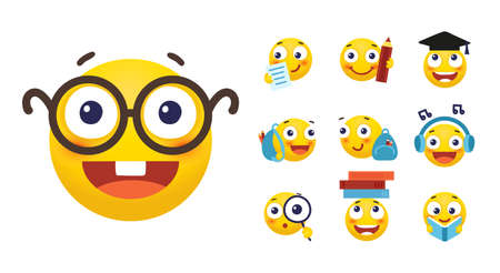 Vector set of emoji for school and education. Round yellow emoticons with different emotions, back to school. Student with a book, a backpack, glasses. Flat cartoon illustration isolated on white background Illustration