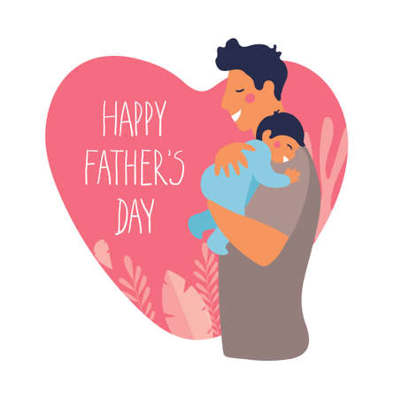 Portrait of a father with son. Poster for fathers day. Daddy hugs and takes care of his child. Flat cartoon vector illustration on a background of heart Illustration