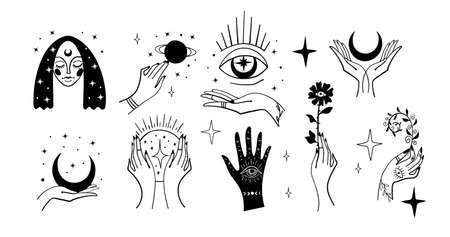 Set of black magic stickers, boho design elements, tattoo, alchemical symbols, esotericism and witchcraft. Linear vector illustration isolated on white background