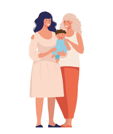 A set of LGBT couples and couples with children, gays, lesbians, a traditional pregnant couple. Relations and rights of homosexual partners. Vector illustration in a flat cartoon style Illustration