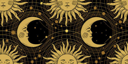 Seamless pattern with a golden sun with a face and a crescent on a black background, galaxy, moon, stars. Mystical ornament in the old vintage style. Vector illustration