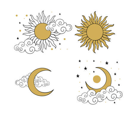 Mystical golden boho tattoos with sun, crescent, stars and clouds. Linear design, hand-drawing. Set of elements for astrology, mysticism and fortune telling. Vector illustration on a white background 写真素材 - 150123624