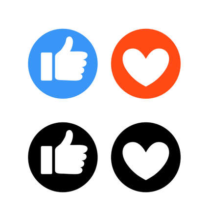 Flat hand and heart, signs of reaction in social networks. Dislike and emoticon, round blue symbol thumbs up, red icon with heart, love and like. Vector illustration.