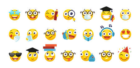 Vector set of emoji for school and education. Round yellow emoticons with different emotions, back to school. A student with a book, a schoolboy with a backpack, a nerd with glasses. Flat cartoon illustration isolated on white background