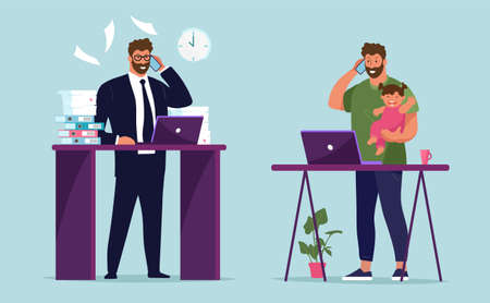 Workplace businessman in the office. A man with a phone and a child in his arms at a remote work from home. The concept of career growth, work and family, freelance and work in a company. Flat vector illustration Illustration