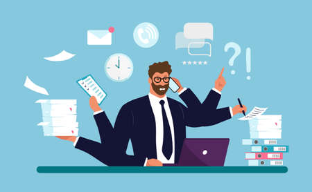 A businessman works with a lot of hands, a lot of documents on the desk, a paper note, a computer, a clock. Concept of work dependent, overworked, professional burnout. Flat cartoon vector illustration