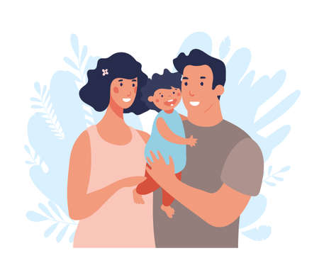 Happy young family with toddler. Mom and Dad are hugging and taking care of the baby. Flat vector illustration isolated on white background Illustration