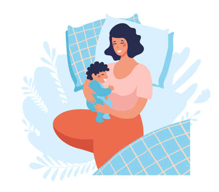 A young mother sleeps with a newborn baby. Joint sleep with a baby. The woman sleeps, smiles and hugs her son. Flat vector illustration